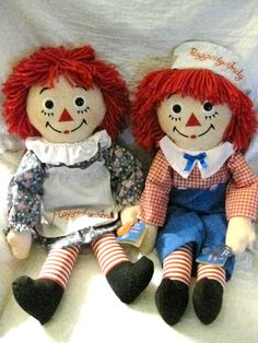 Raggedy Ann and Andy with tags by 3sistersarewevintage on Etsy, $35.00