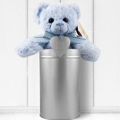 Personalised Baby Boy Teddy and Heart in a Tin