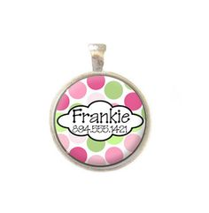 Pet ID Tag - Personalized with Name and Number - Pink and Green Dots - Dog Tag - Choice of Style