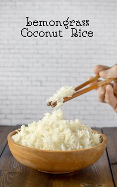Coconut Rice infused with lemograss Vegan Rice Dishes, Rice Recipes Vegan, Vegetarian Side Dishes, Vegan Dinner Recipes, Whole Food Recipes, Vegetarian Recipes, Vegan Food, Yummy Recipes, Easy Vegan Dinner