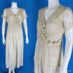 Antique Edwardian 1915 Silk Wedding Dress Headpiece Photo of Bride Size S #Handmade http://stores.ebay.com/mmmostsoldtimestuffandthreads