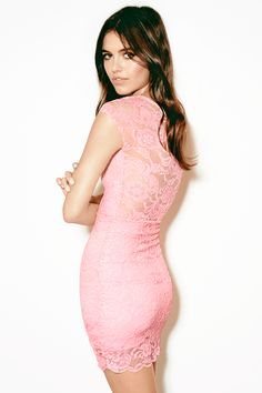 Form-fitting dress in bubblegum pink lace.│ H&M Divided