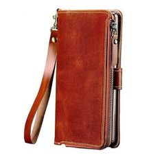 Multi-functional Zipper Genuine Leather Case For iPhone X XR XS MAX 6 Wallet Stand Holder Silicone Protect Phone Bag Cover Flip Mobile Phones, Flip Phones, Flip Phone Case, Phone Cover, Best Leather Wallet, Leather Phone Case, Dongguan, Lg G5, Zipper Bags