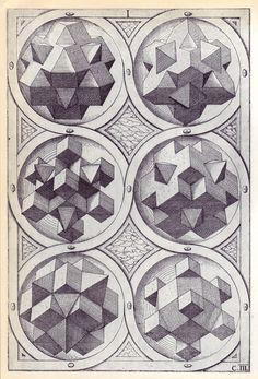 Wenzel Jamnitzer-Perspectiva Corporum Regularium; studies on platonic solids and geometries, 1568(!)