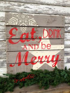 Holiday Hand Painted Repurposed Pallet by soulshineliving on Etsy