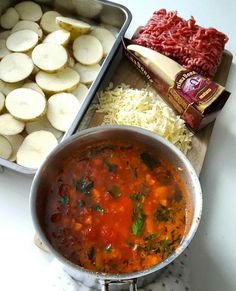 Enkel og smakfull potetgrateng – Snikgjest Mince Meat, Moussaka, Chana Masala, Oreo, Nom Nom, Salsa, Curry, Food And Drink, Potatoes