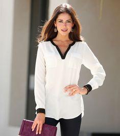 blusas elegantes manga larga - Buscar con Google
