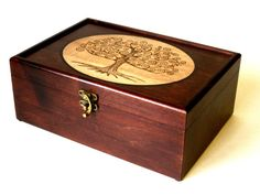 """Tree of Life Multi-Toned Premium Memory Box: 9.5"""" x 6.5"""" Solid Maple, Handcrafted Wooden Box, Handfinished, Woodburned, Fully custom"""