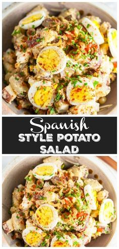 This spanish style potato salad is a fun and unique twist on the traditional potato salad recipe! this potato salad is easy to make and loaded with red Easy Salad Recipes, Easy Salads, Egg Recipes, Side Dish Recipes, Dinner Recipes, Cooking Recipes, Potato Salad Recipes, Vegetarian Side Dishes, Side Dishes For Bbq