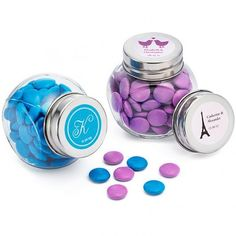 Personalised Mini Candy Jar Favours with stickers - Something sweet...