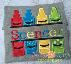 Split Crayons Applique - This split crayons applique design is great for personalizing a back to school project.