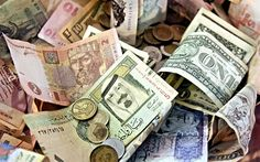money, banknotes, dollars, hryvnia, notes, mountain of money, different money