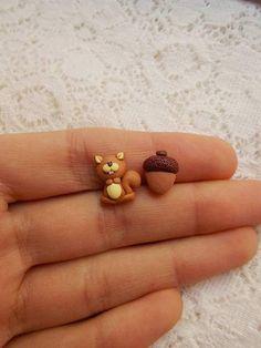 Ohrstecker - Eichhörnchen-Ohrringe, Tierschmuck - ein Designerstück von NahootDesign bei DaWanda