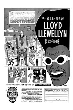 Ad for Lloyd Llewellyn Special by Daniel Clowes, 1988. Clowes' Lloyd Llewellyn hearkened back to the hedonistic days of bachelor pads and bongo drums.  Crazy, baby. Crazy.
