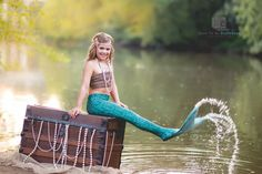 Mermaid | Girl Costumes | Child Model | Modeling | Costume | Sailing | Fairy Tale | Fairytale | Ariel | Treasure Chest | Hair | Make-up | Water | Lake | Nautical | Portrait Poses | Photo Idea | Photography | Cute Kid Pic | Posing Ideas | Kids | Children | Child | ~Woodstock, Georgia Photographer close to Atlanta | Dare to Be Different Photography~
