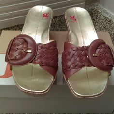 Final Markdow Cole haan G series sandals Brand new slide wedge Brown leather Cole haan G series  Shoes Wedges