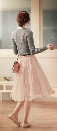Gray cardigan, pink skirt