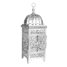"""23792 - Scrollwork Lantern Medium Silver - Wholesale. Scrollwork cutouts let candle light shine through, throwing off a beautiful pattern. A good size for a medium size table, side table, or large mantel. Door opening 4 1/4"""" x 7 1/2"""" high. A small to medium sized pillar candle is ideal"""