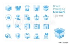 Boxes, Packaging and Delivery vector icon collection with a blue tone - Buy this stock vector and explore similar vectors at Adobe Stock | Adobe Stock