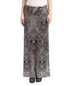 Look at this Casa Lee Gray & Black Ornate Skull Maxi Skirt on #zulily today!
