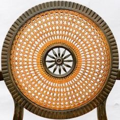 Back of a caned chair using French Medallion cane pattern.  -Royal Chair Caning www.royalchaircaning.com