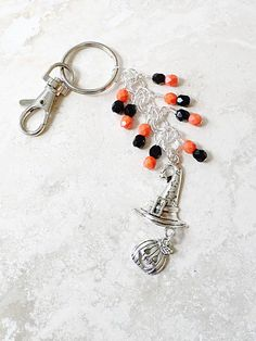Halloween Beaded Keychain Witch Hat Charm by 2BeBeadedBySana
