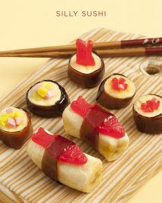 """Sushi"" with bananas, Swedish fish, and fruit rollups. Cute!"