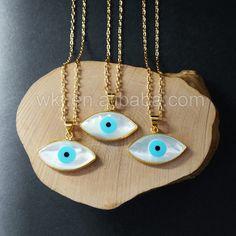 WT-N702 exklusive böse Augen natürliche Muschelanhänger, hochwertige Gold…