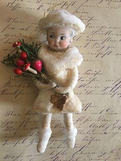 Wattefigur mit Porzellankopf,Glücksbringer für Federbaum, JDL, Shabby,Vintage | eBay