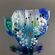 PIKALDA=handmade lampwork 1 glass bead focal flower blossom=DEEP BLUE SEA=SRA
