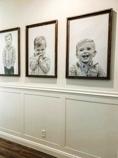 Transform your hallway into a place you love to walk down by adding paint, wood and oversided portraits to the wall.