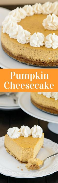 You will love this creamy pumpkin cheesecake! It rests on a thick gingersnap crust and is topped with fluffy swirls of sweet whipped cream. via /introvertbaker/ Pumpkin Cheesecake Recipes, Baked Cheesecake Recipe, Best Cheesecake, Pumpkin Recipes, Cheesecake Desserts, Cheesecake Bites, Baking Recipes, Dessert Recipes, Fun Recipes