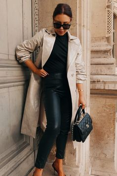Order the Lorna Luxe Black 'contour' Leather Look Leggings from In The Style. Luxe Clothing, Trendy Clothing, Black Dress With Sleeves, Leather Blazer, Street Style Summer, Stylish Outfits, Work Outfits, Parisian Chic, Elegant Outfit