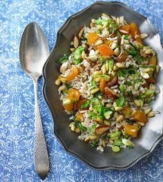 """Gaby came across this recipe when working abroad. This is a """"pilaf"""" traditionally served at weddings, and with the North African combination of ingredients it is named """"Algerian Wedding Rice"""". It is normally a slow … Rice Recipes, Yummy Recipes, Yummy Food, Wedding Rice, Algerian Recipes, Diet Books, Recipe Inspiration, African Recipes, Arabic Food"""