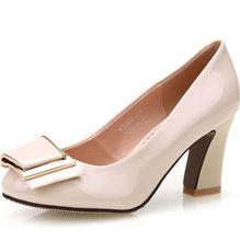 Nueva Mujer Medio Talón Zapatos de Cuero Genuino 2016 Mujeres Del Arco Bombas con Tacones de Plataforma OL Tacón Cuadrado Zapatos De Oficina(China (Mainland))