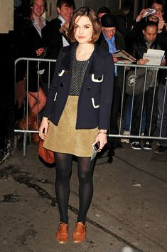 Keira Knightley leaves the Comedy Theatre after her performance in 'The Children's Hour' wearing a corduroy skirt and a polkadot top.