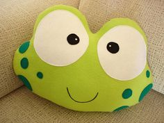 PHINE THE FROG-Decorative plush pillow by lovelia on Etsy