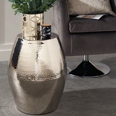 Warrington Barrel Shape Side Table In Nickel