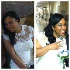 Wedding hair Side swept curls Side bangs Full sew-in