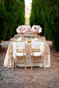 {gold + pink wedding}