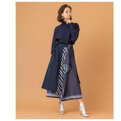 Image may contain: 1 person, standing and stripes Modest Fashion, Women's Fashion Dresses, Skirt Fashion, Hijab Fashion, Korean Fashion, Batik Fashion, Fashion Details, Fashion Design, Cute Skirts