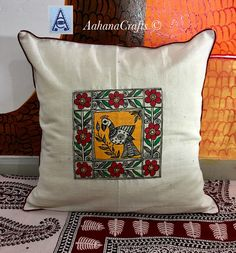 Ideas Wall Decoration For Living Room Diy Canvases For 2019 Madhubani Art, Madhubani Painting, Kitchen Paint Colors, Interior Paint Colors, Interior Painting, Khadi, Cushion Cover Designs, Cushion Covers, Paris Decor