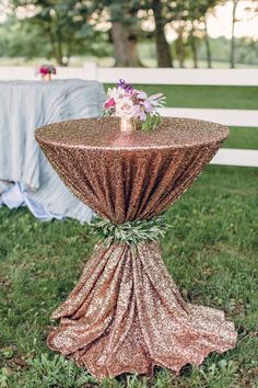 Olive, Mulberry and Gold Wedding Inspiration - Rose gold sequin cocktail table linen with olive leaf tie back. #rosegold