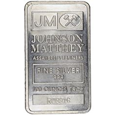 100 oz Pressed Johnson Matthey Silver Bar from JM Bullion™ Capitalist Pig, Silver Bars, The 100, Pure Products, Stuff To Buy
