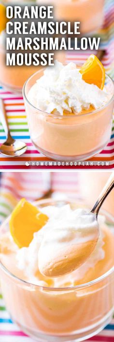 Orange Creamsicle Marshmallow Mousse! A quick eggless orange mousse recipe that's served up parfait style and garnished with whipped cream and orange slices. Plus, this is an orange mousse recipe without gelatin, making it a fool-proof treat for any orange creamsicle fan! | HomemadeHooplah.com