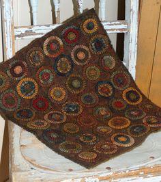 Handmade Primitive Wool Penny Rug Triple layers pennies in Deep Rich prim Colors