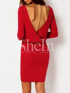 Rose+Red+Half+Sleeve+Elegantly+V+Back+Dress+14.29