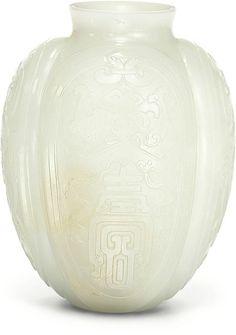 A white jade lobed vase, Qing dynasty, Qianlong period (1736-1795)