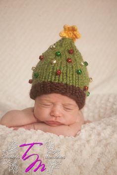 Christmas Tree Hat - Christmas - Holiday - Newborn Photo Prop - Sizes Newborn - Toddler. $25.00, via Etsy.