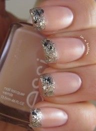 Glitter French manicure - Click image to find more cute nail ideas